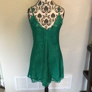 Vintage Victoria's Secret Green Lace Slip SM